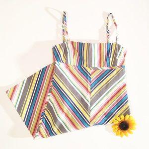 Trina Turk stripes rainbow sun dress size 6